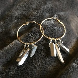 Jewelry - silver gilded crystals on Hammered hoop earrings